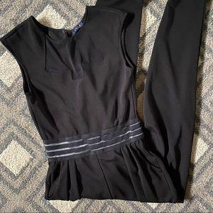 Sheer mesh panel jumpsuit